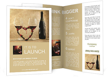 Two Glasses Of Red Wine Brochure Template Design Id 0000008038
