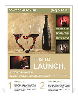 Two Glasses Of Red Wine Flyer Template Design Id 0000008038