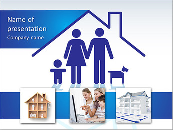 Beautiful family in house PowerPoint Template