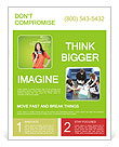 Young female student standing and thinking what professio Flyer Template