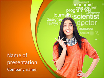 Young female student standing and thinking what professio PowerPoint Template