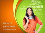 Young female student standing and thinking what professio PowerPoint Templates
