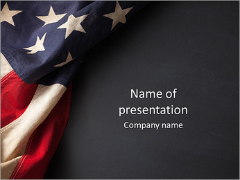 Vintage American flag on a chalkboard with space for text PowerPoint Template