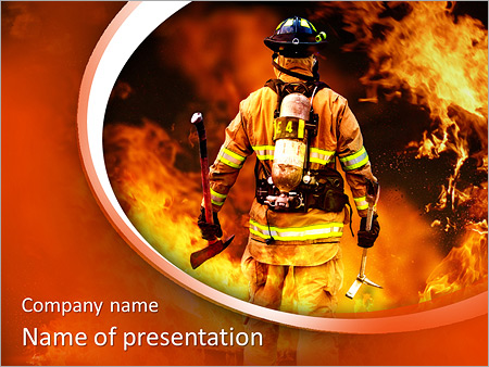 firefighter in the fire powerpoint template backgrounds google