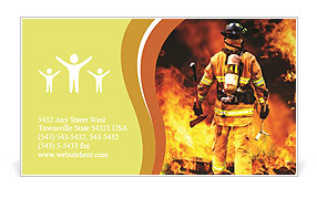 Firefighter in the fire Business Card Templates