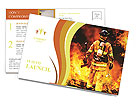 Firefighter in the fire Postcard Template