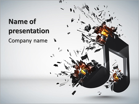 3d musical notes with burst effect powerpoint template, Modern powerpoint