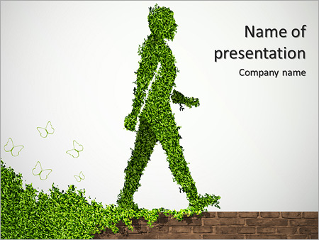 green man saved nature powerpoint template & backgrounds id, Powerpoint templates