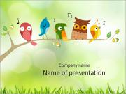 Colorful birds on a branch PowerPoint Template
