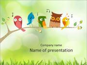 Bir şube renkli kuşlar PowerPoint sunum şablonları