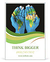 Map painted on hands showing concept of having the world in our hands Ad Template