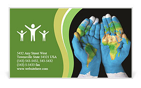 Map painted on hands showing concept of having the world in our hands Business Card Templates