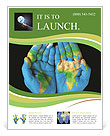Map painted on hands showing concept of having the world in our hands Flyer Template