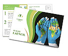 Map painted on hands showing concept of having the world in our hands Postcard Template