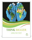 Map painted on hands showing concept of having the world in our hands Poster Template