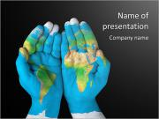 Map painted on hands showing concept of having the world in our hands PowerPoint Templates