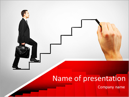 young man climbs the ladder of success and a virtual career, Modern powerpoint