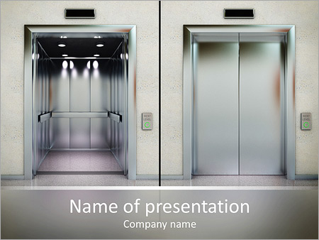 Two images of a modern elevator with opened and closed doors ...