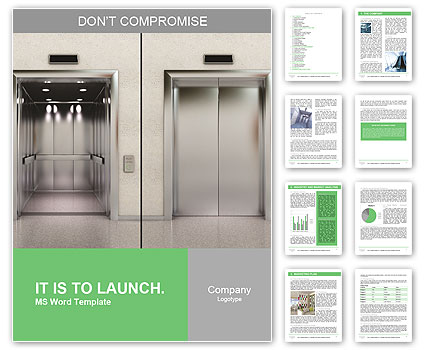 Two images of a modern elevator with opened and closed doors Word – Modern Word Templates