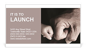 Big hand and little hand as fists together Business Card Template
