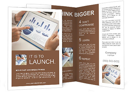 financial brochure templates - close up of a touchscreen with financial data in form of