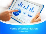 Close-up of a touchscreen with financial data in form of charts PowerPoint Templates