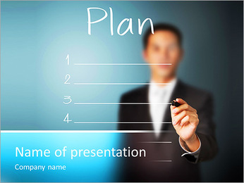 Business man writing business plan PowerPoint Template