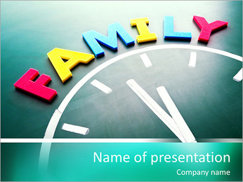 Family time concept clock PowerPoint Template
