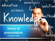 Business man writing knowledge concept PowerPoint Templates
