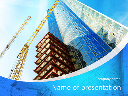 building of a skyscraper with two tower cranes powerpoint template, Modern powerpoint