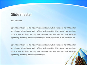 Строительство небоскреба с двумя башенными кранами Шаблоны презентаций PowerPoint