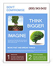 Healthy heart and mind with a tree in the shape of a human head Flyer Template
