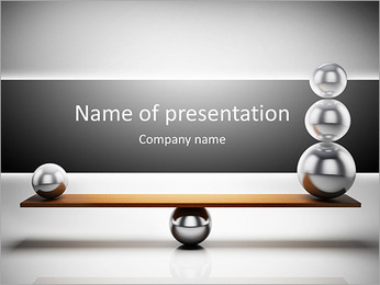 Balancing balls on wooden board PowerPoint Template