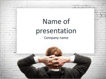 Confident businessman presenting board PowerPoint Template