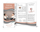Young brothers talking with tin can telephone Brochure Templates