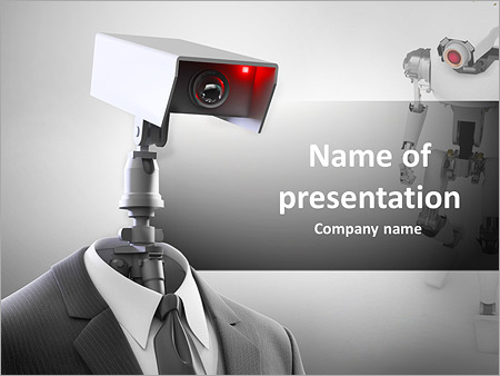 a robotic security camera powerpoint template & backgrounds id, Presentation templates