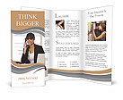 Young woman talking on the phone Brochure Templates
