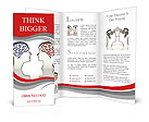 Man and woman faces profiles with brains Brochure Templates