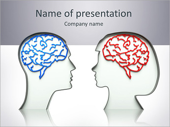 Man and woman faces profiles with brains PowerPoint Template