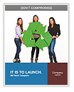 Three people holding a recycle sign Word Templates
