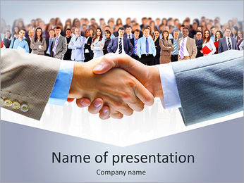 Business handshake with lots of business people PowerPoint Template