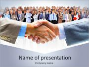 Business handshake with lots of business people PowerPoint Templates