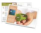 Green Electricity in the hands of Postcard Template