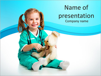 Cute little girl with her toy PowerPoint Template