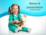 Cute little girl with her toy PowerPoint Templates