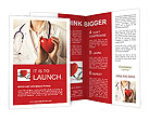 Female doctor standing with stethoscope and red heart Brochure Templates