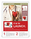 Female doctor standing with stethoscope and red heart Flyer Templates