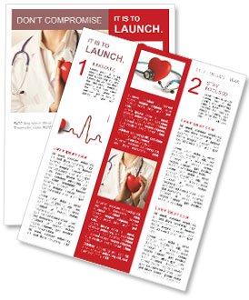 Female Doctor Standing With Stethoscope And Red Heart Newsletter Template