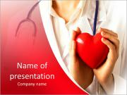 Female doctor standing with stethoscope and red heart PowerPoint Template