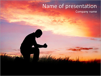 Silhouette of a man at sunset PowerPoint Template